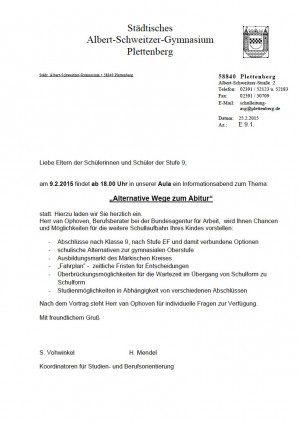 Einladung-Alternative Wege Abitur 2015