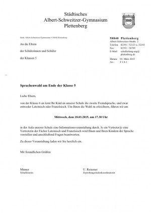 Einladung Sprachenwahl Jgst. 5