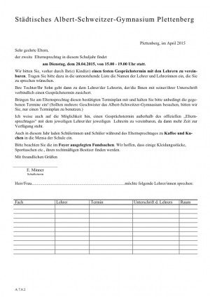 Elternsprechtag Einladung 28.04.2015