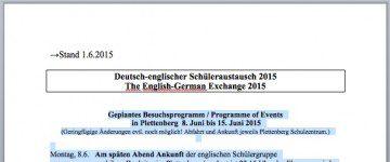 Deutsch-englischer Schüleraustausch 2015 - The English-German Exchange 2015