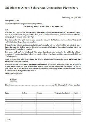 Elternsprechtag Einladung Eltern - 03.05.16