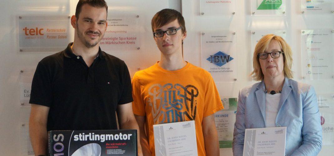 Schüler gewinnt Dr. Hans Riegel Fachpreis 2016
