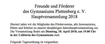 Einladung zur Jahreshauptversammlung des Fördervereins am 10. April
