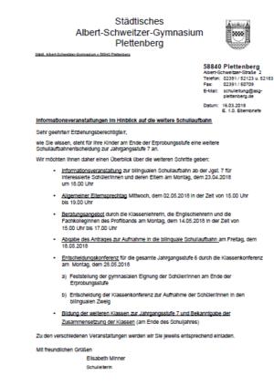 Informationsveranstaltungen im Hinblick auf die weitere Schullaufbahn ab Kl. 7