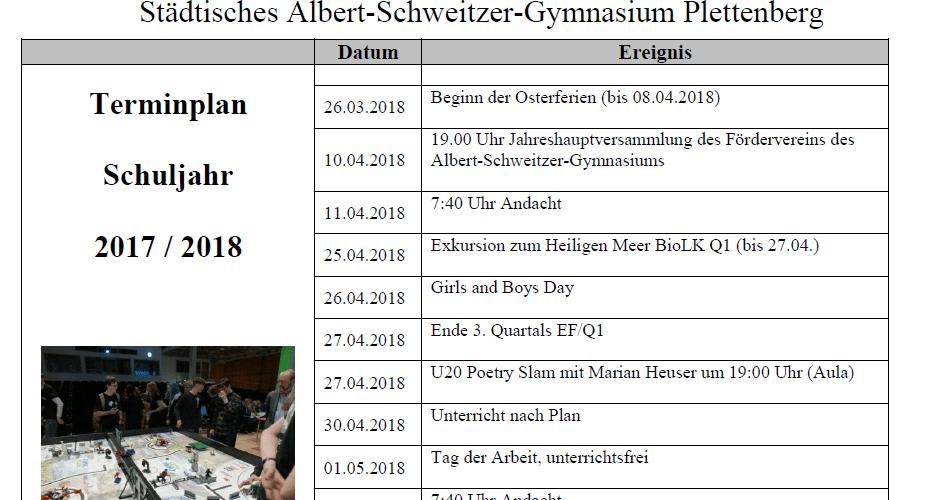 Aktualisierter Eltern-Terminplan ab April 2018