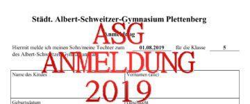 Anmeldung zum Schuljahr 2019/20