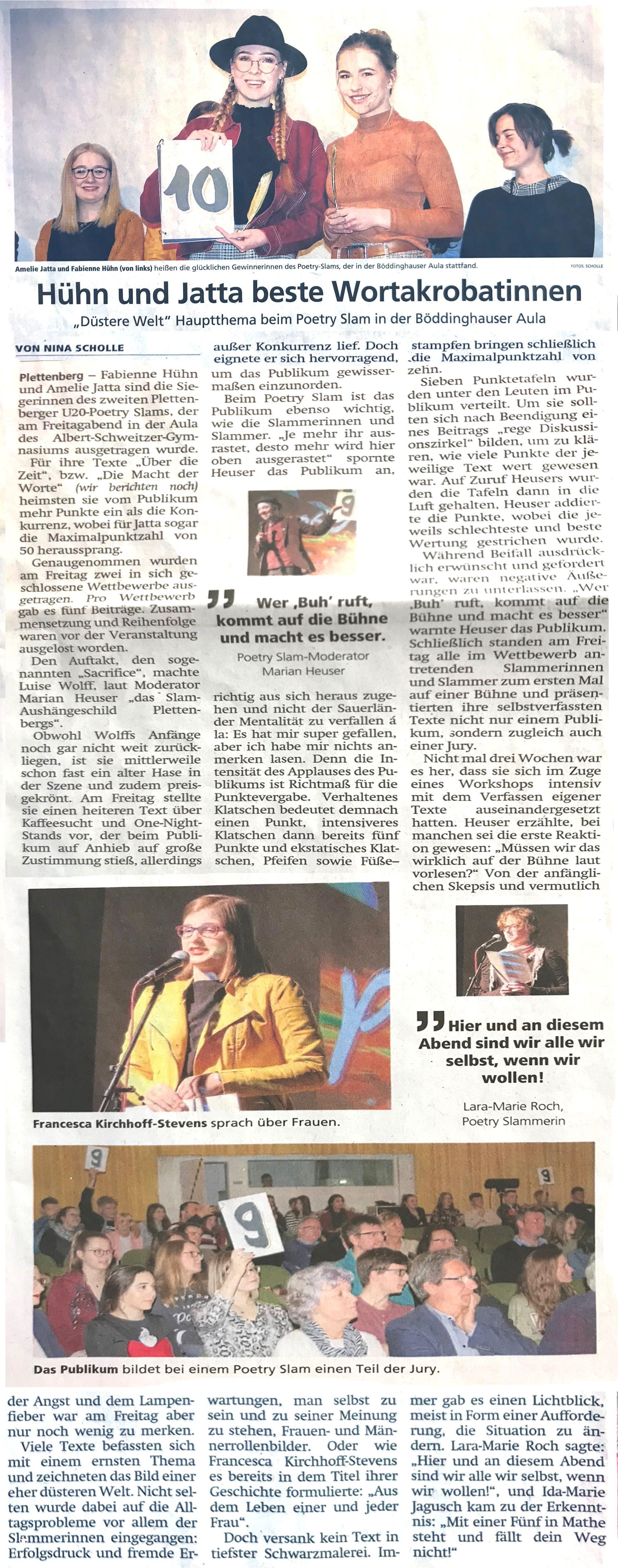 """Fabienne Hühn und Amelie Jatta gewinnen den """"Zweiten Plettenberger U20 Poetry Slam"""""""