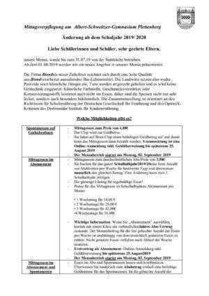 Informationsbrief Juli 2019 - Mittagsverpflegung durch biond