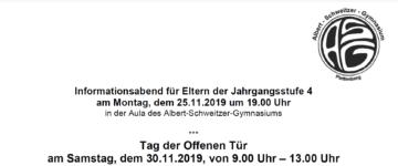 Terminplan für die Anmeldung 2020/2021