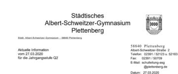 Informationen zum Abitur 2020 (27.03.2020)