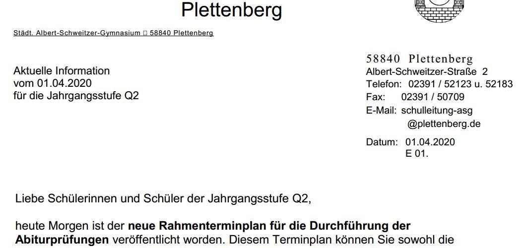 Terminplan zum Abitur 2020 (01.04.2020)