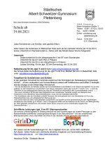 Elternbrief 15. April 21: Schule ab 19.04.21