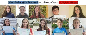Die Fachschaft Französisch gratuliert zur bestandenen DELF-Prüfung!