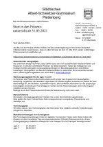 Elternbrief 27. Mai 21: Start in den Präsenzunterricht ab 31.05.2021